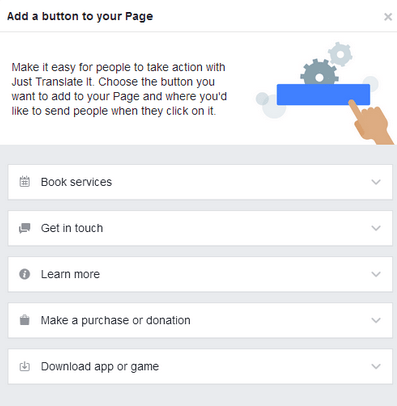 Add Button to Facebook page
